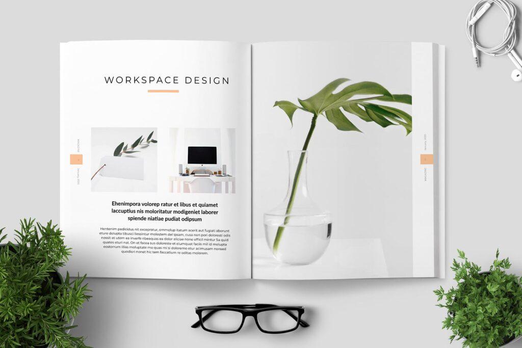 简洁优雅时生活方式或销售展示画册模板素材下载Clean Minimal Magazine Design插图(2)