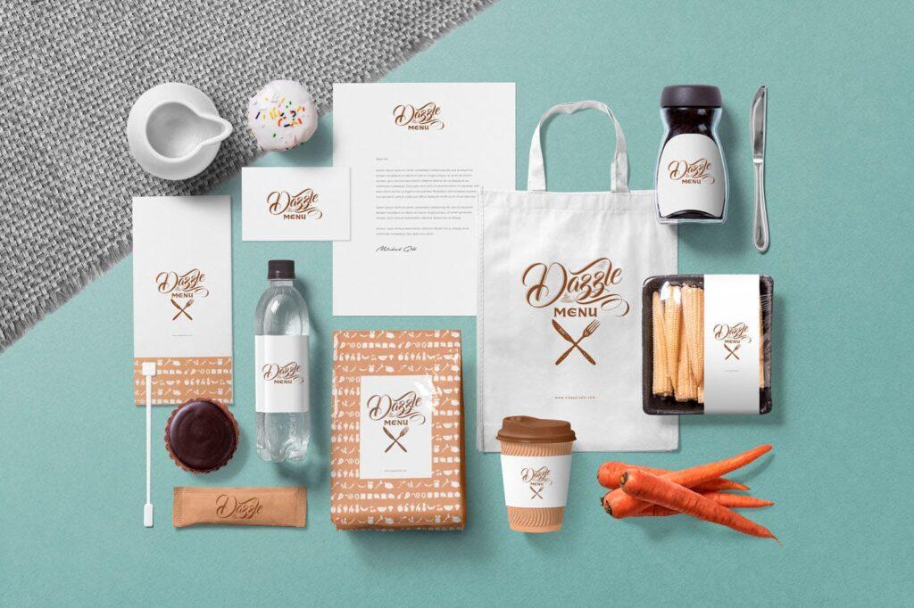 文艺咖啡店品牌VI设计样机素材下载Coffee Themed Brand Identity Mockup Scenes插图(2)