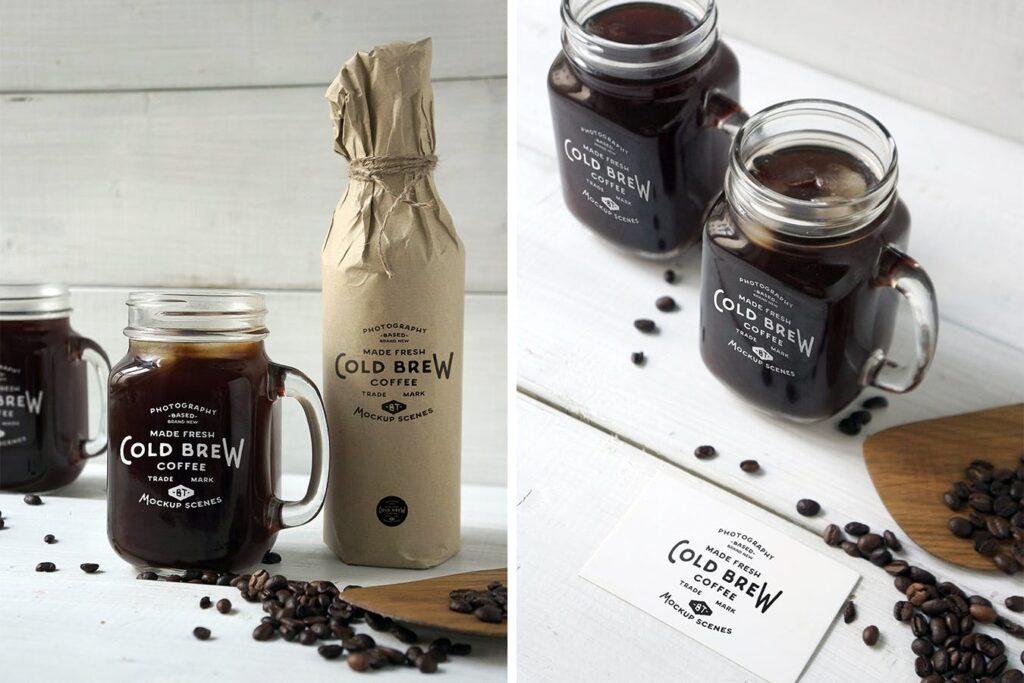 咖啡馆餐饮品牌样机/冷煮咖啡模型样机Cold Brew Coffee Mockup插图(2)