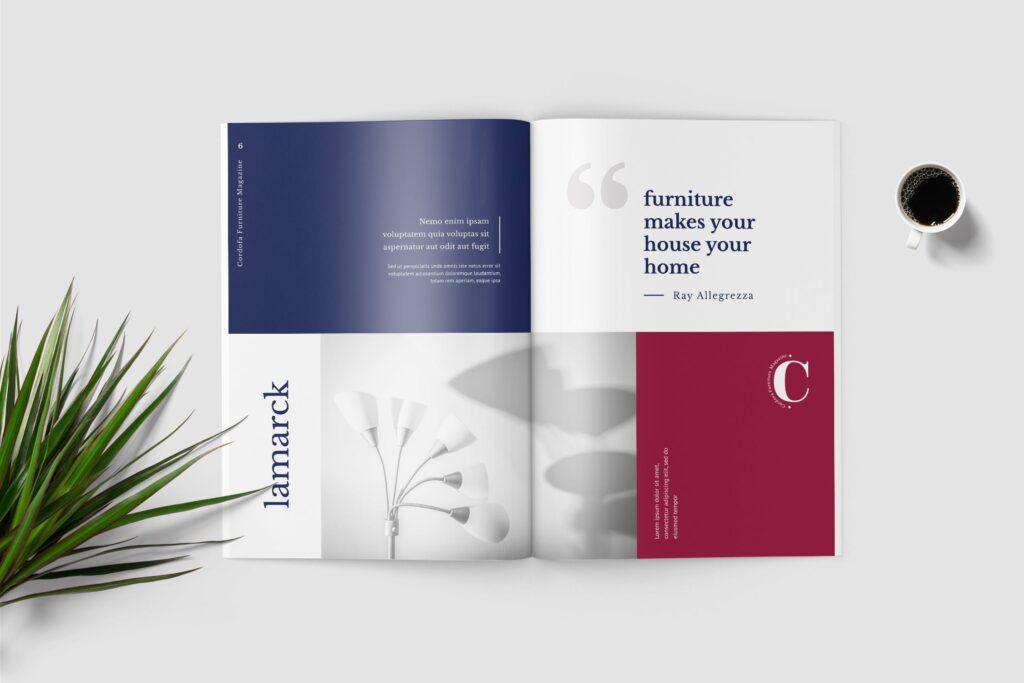 多用途欧美极致简洁版式画册杂志模版Cordofa Furniture Magazine Template插图(2)