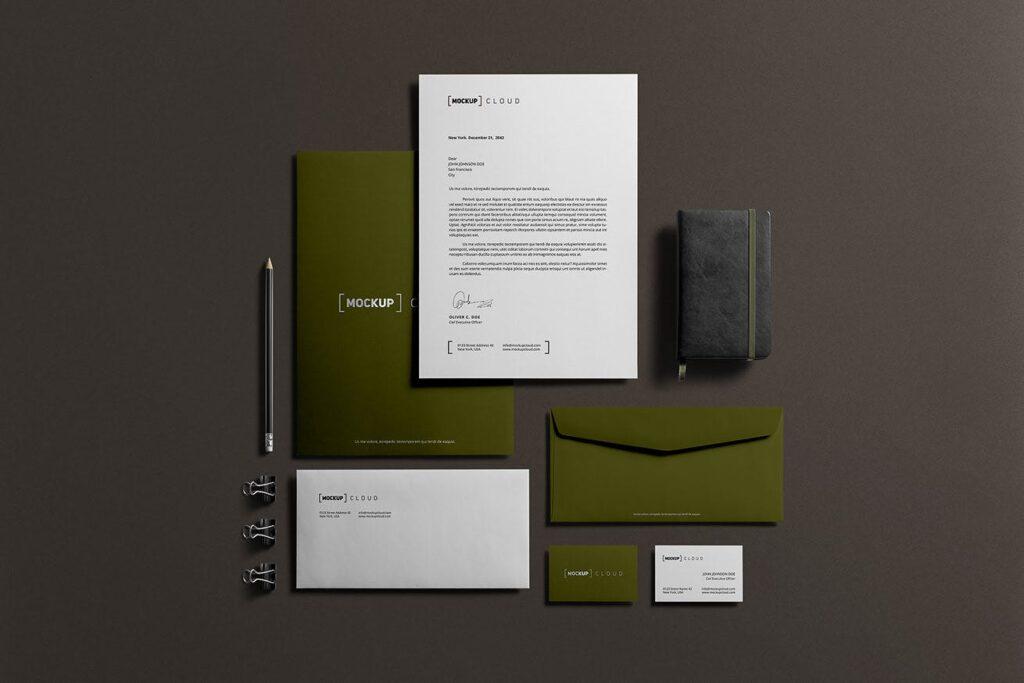 优质企业办公品牌文具样机模型下载Corporate Stationery Branding Mockup插图(2)