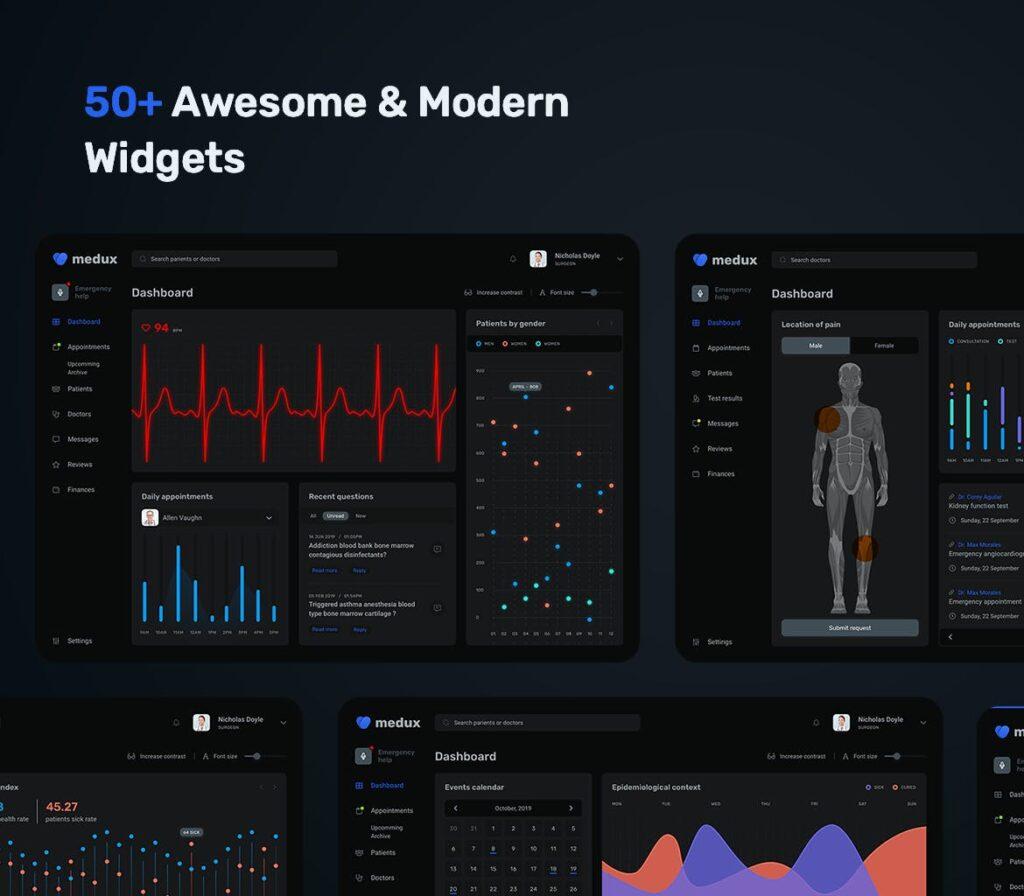 在线医疗数据可视化平台UI组件模板素材下载Dark Medical Dashboard UI KIT插图(2)