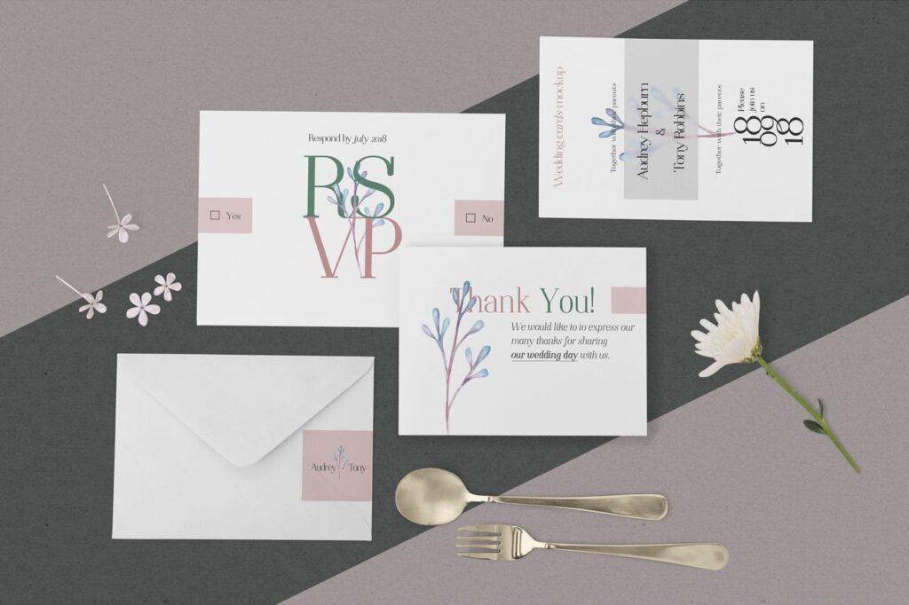 优雅婚礼邀请函贺卡模型样机素材下载Elegant Wedding Stationery Mockups插图(2)
