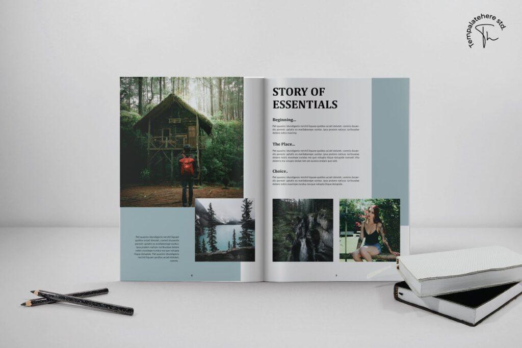 现代简约中性的杂志设计风格Essential Magazine Template插图(2)