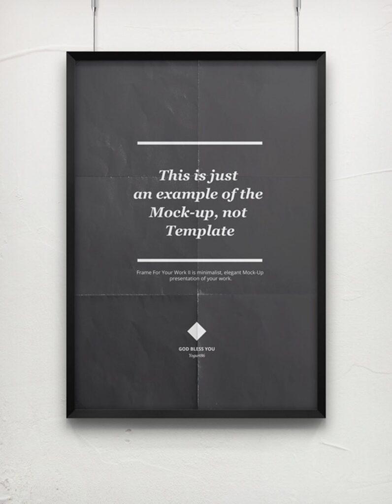 海报展示画框相框模型样机效果图Frame For Your Work 2插图(2)