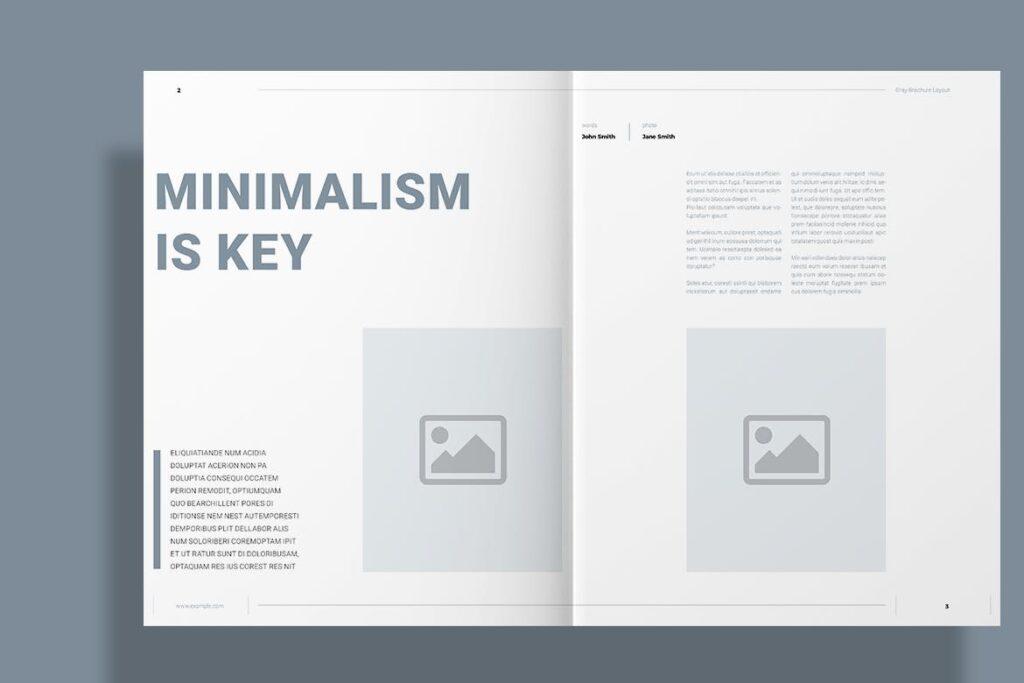黑白经典艺术摄影画册杂志模板Gray Brochure插图(2)