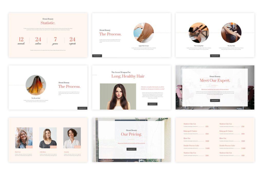女性美容美发行业调研数据汇报宣讲PPT幻灯片模板Henni Beauty Salon Powerpoint Template插图(2)