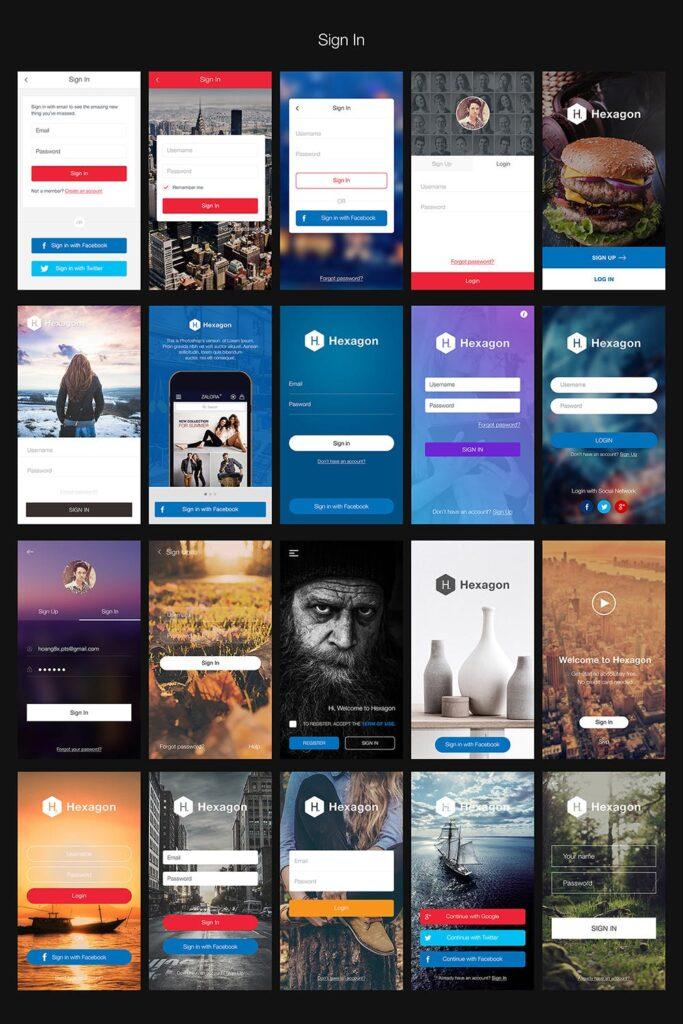 图片社交类应用UI组件模板素材Hexagon Mobile UI Kit插图(2)