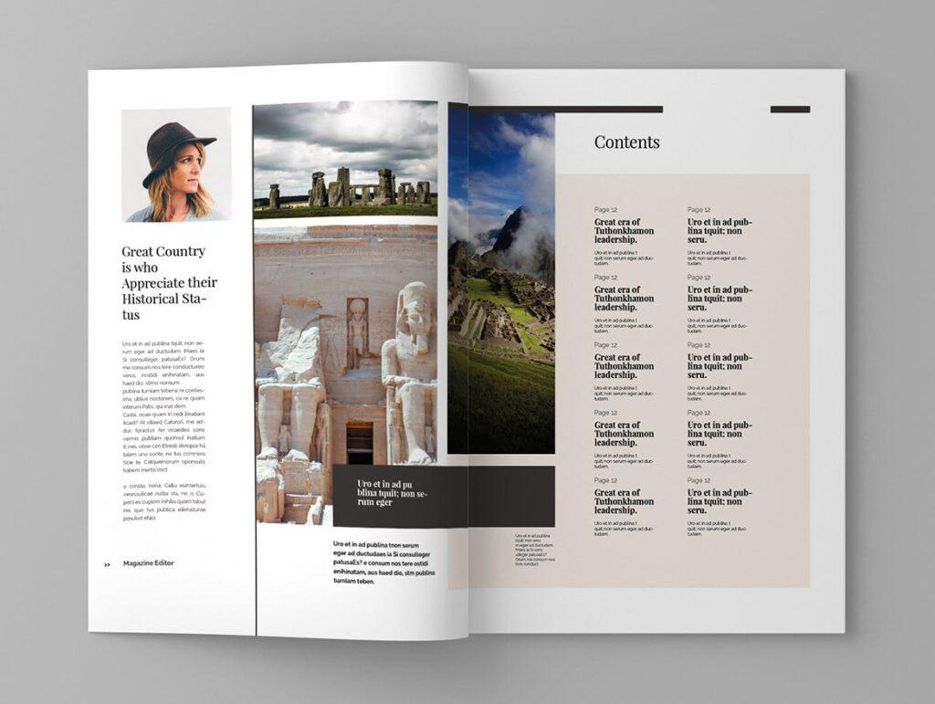 复古风格历史介绍类型杂志模板素材Historct Magazine Template插图(2)