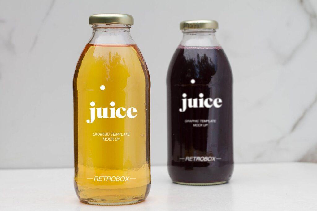 果汁玻璃瓶效果样机模型下载Juice Bottle Mock Up插图(2)