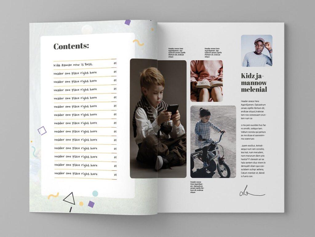 关爱儿童教育/公益事业宣传画册模板Kidea Magazine Template插图(2)