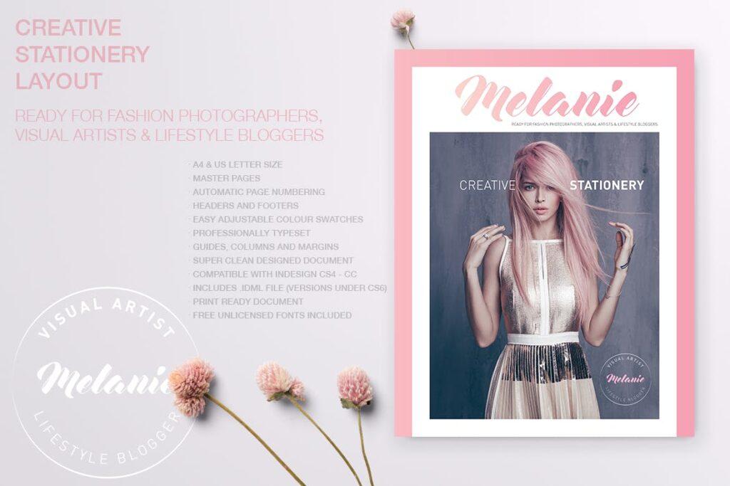 时尚多行业多用途印刷类模版素材Melanie Creative Stationery 01插图(2)