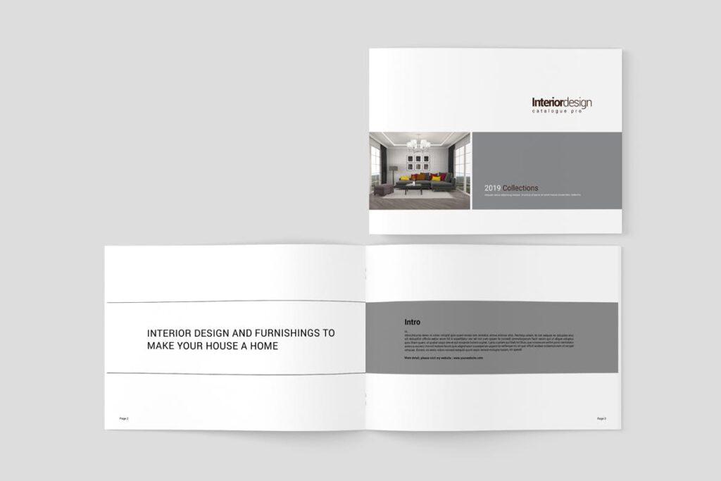 横版室内设计小册子/目录画册模板Minimal Interior Brochure插图(2)