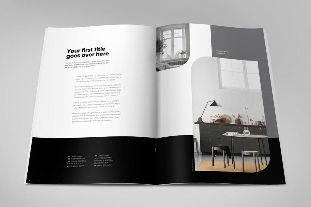 极简室内设计/居家生活美学杂志画册模板Minimal Interior Design Magazine插图(2)
