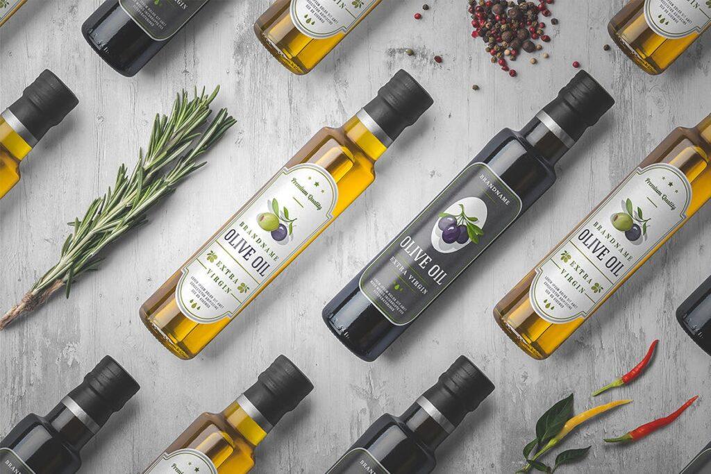 橄榄油瓶包装和香料模型样机素材下载Oil Bottle and Spices Packaging Mockup插图(2)