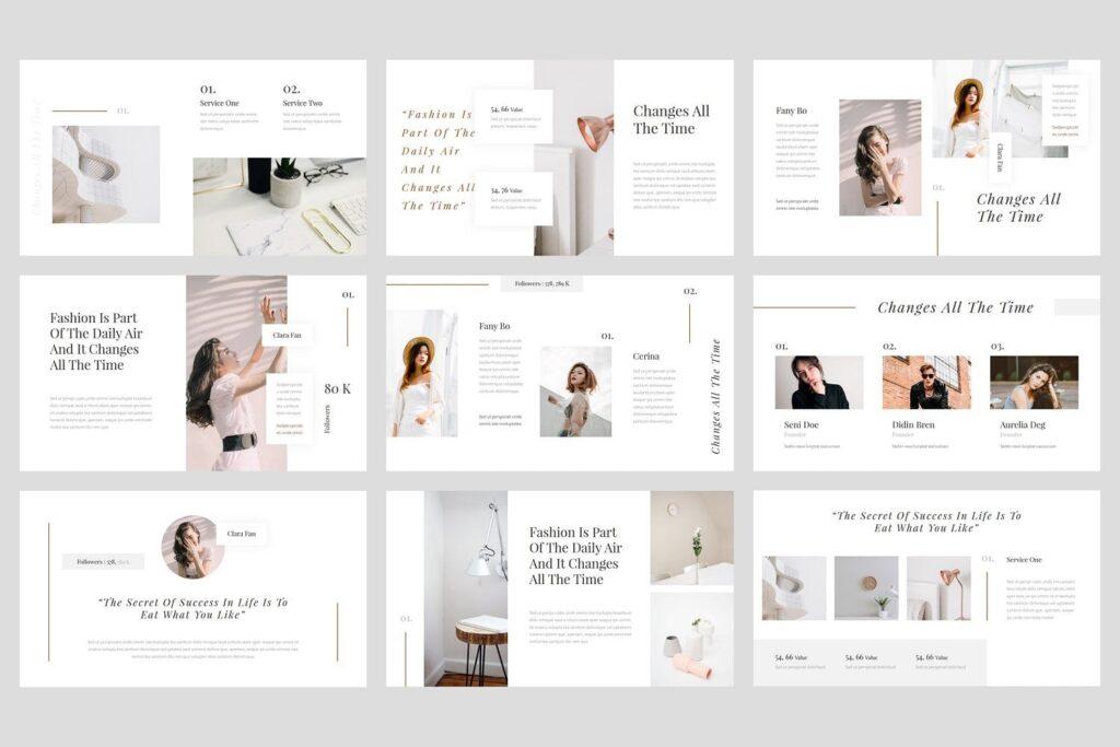 时尚行业企业销售数据汇报ppt幻灯片模板Seila Fashion PowerPoint Template插图(2)