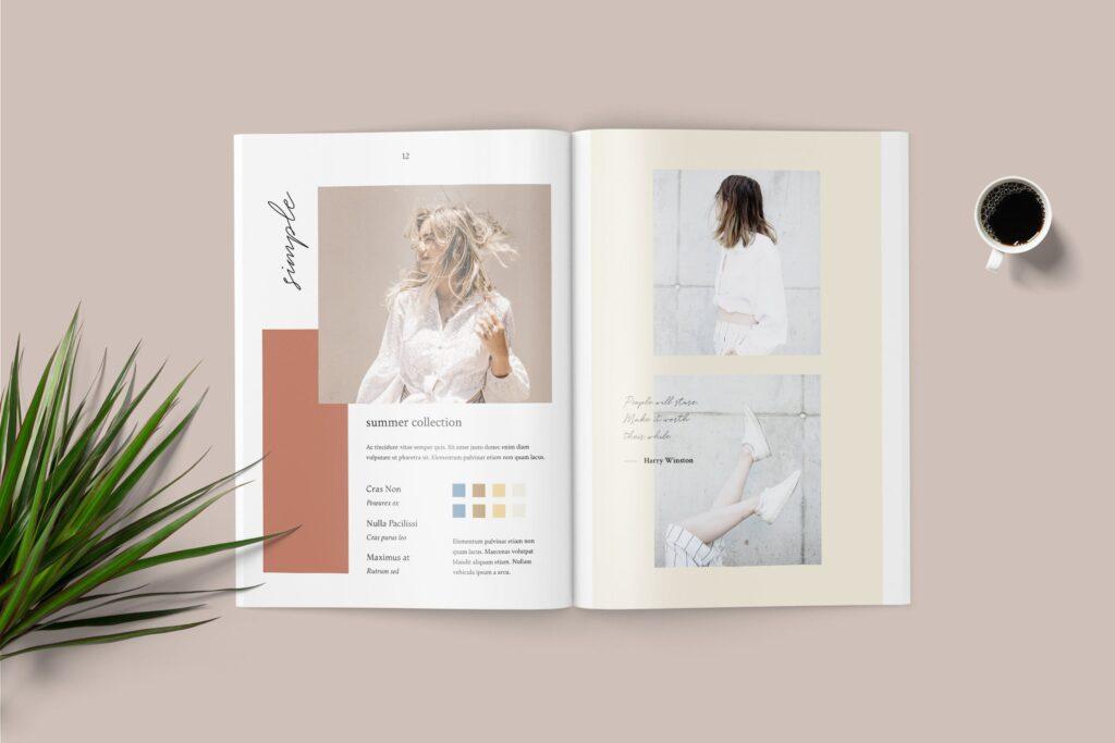素雅时尚服装品牌画册杂志模版素材Shirea Fashion Lookbook Magazine插图(2)