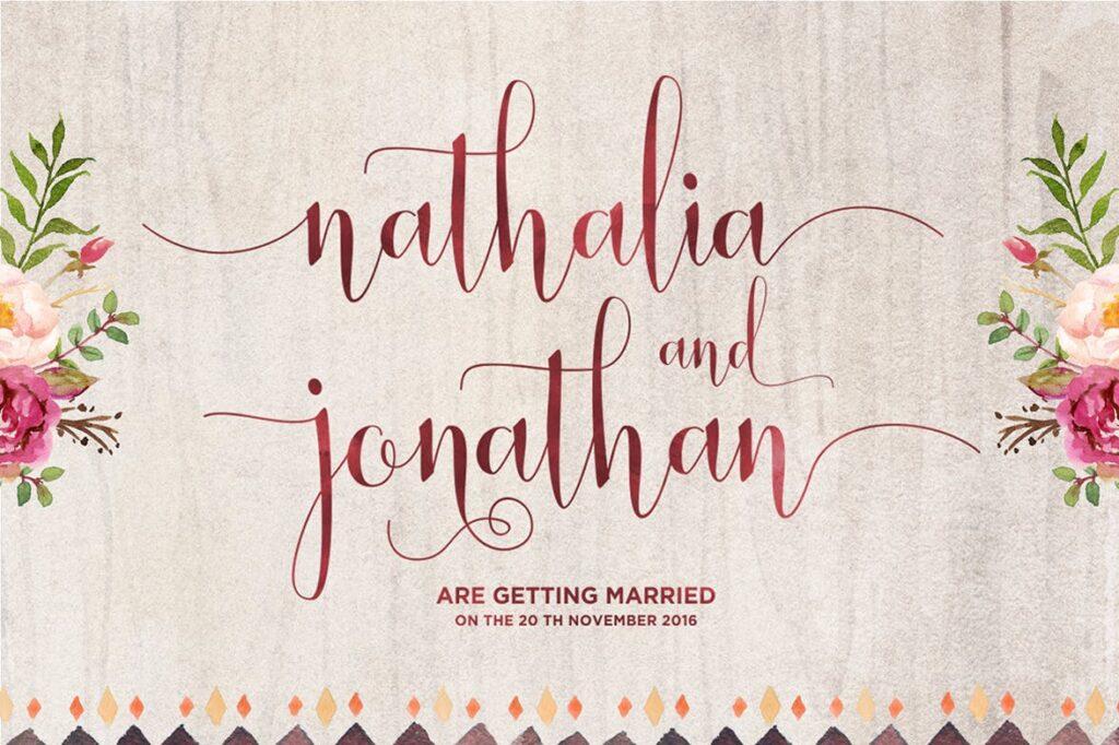 线条流畅现代书法手写字体/婚礼邀请函请柬手写字体Smoothline Script插图(2)