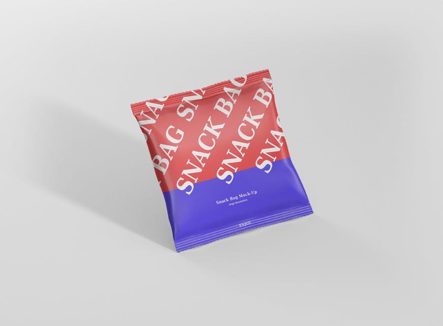 方形食品箔袋模型样机素材下载Snack Foil Bag Mockup Square Size插图(2)