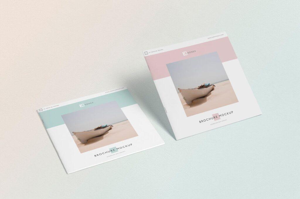 企业介绍类小册子/杂志模型样机素材下载Square Brochure Magazine MockUp插图(2)