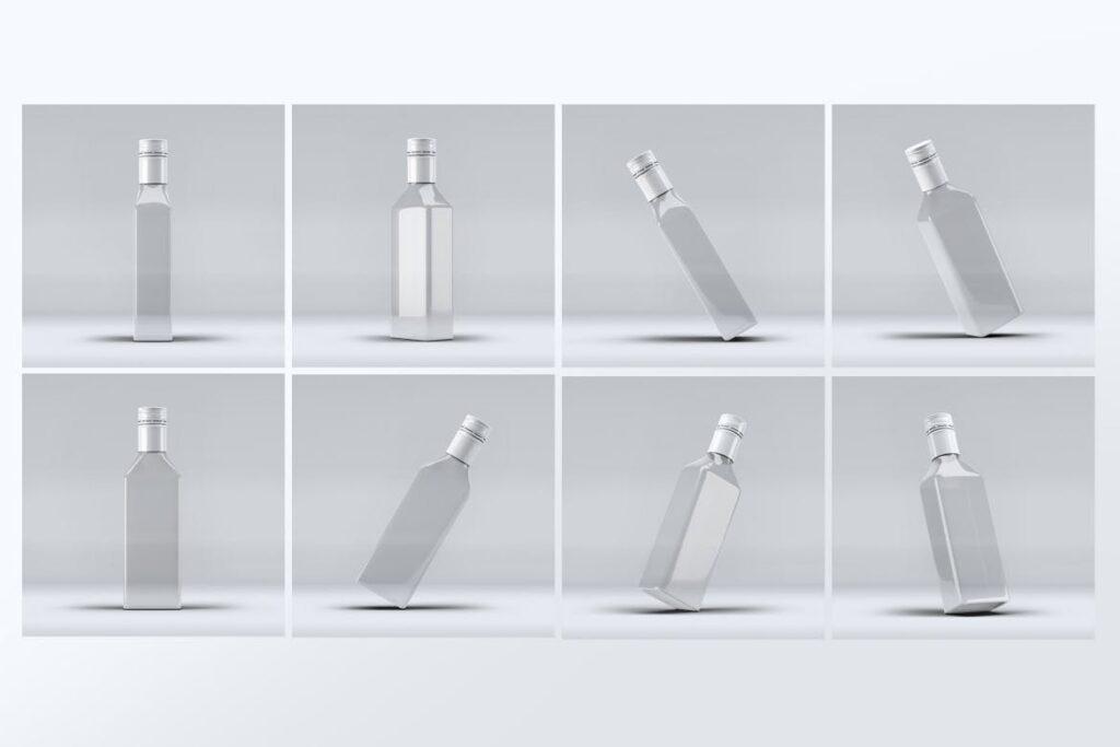厨房通用调味瓶/黑色方形玻璃瓶模型样机素材Square Glass Bottle MockUp插图(3)