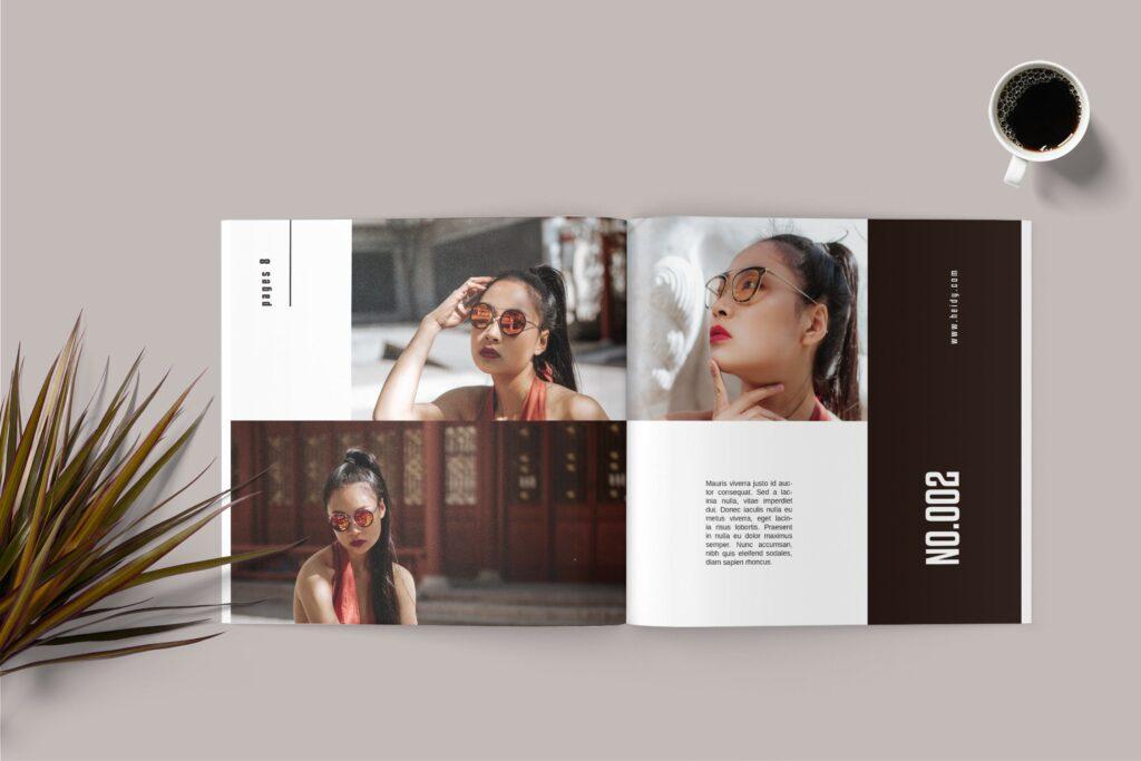 摄影作品集个人经典写真集杂志画册模版Square Photobook Magazine插图(2)