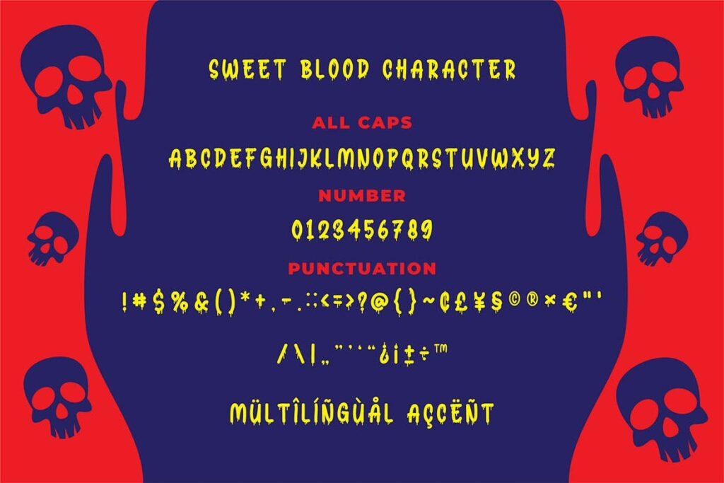 万圣节恐怖海报英文手写字体下载Sweet Blood Horror Typeface插图(2)