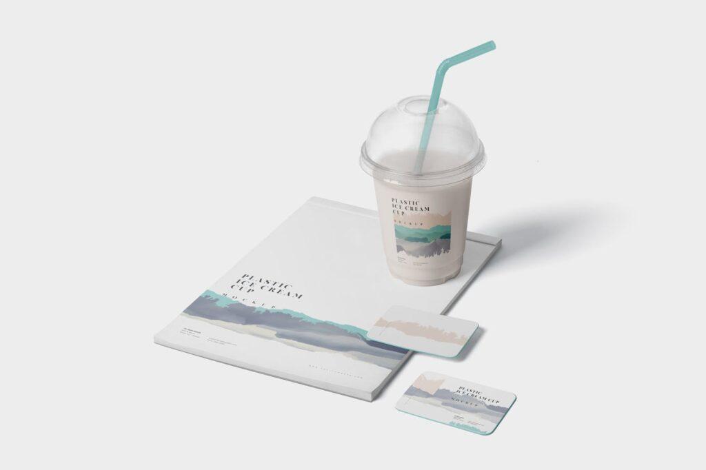 塑料透明冰激凌杯模型样机/品牌包装Transparent Plastic Ice Cream Cup Mockups插图(2)
