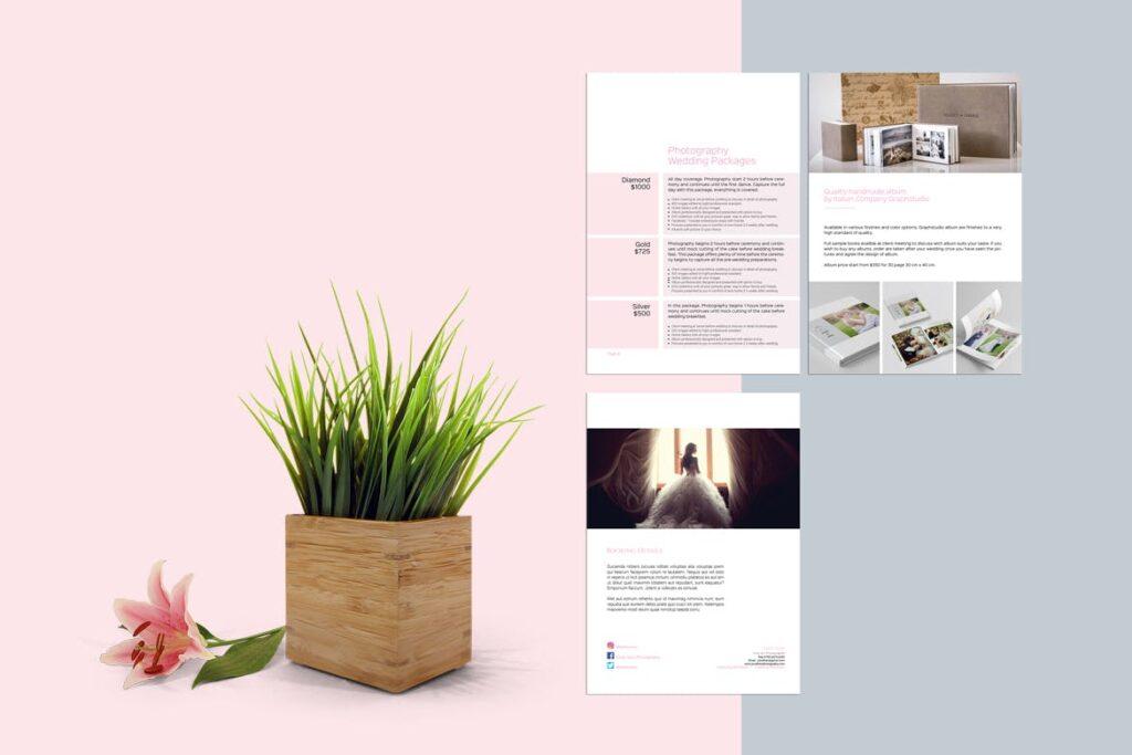 婚纱摄影价格指南/婚纱摄影工作室杂志画册模板Wedding Photography Price Guide插图(2)