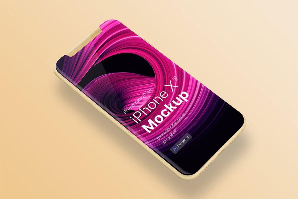UI作品移动端设备展示样机模型效果图iPhone XS app mobile Mock-Up插图(2)