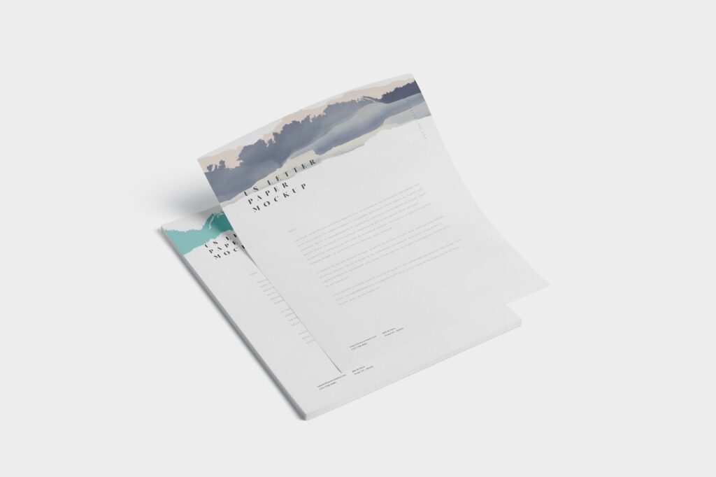 企业宣传传单模型样机效果图下载5 US Letter Paper Mockups插图(3)