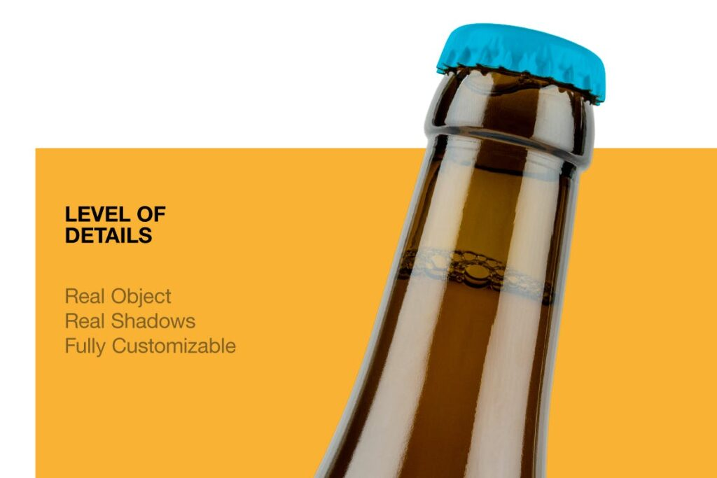 琥珀色精酿啤酒瓶模型样机展示效果图Amber Beer Bottle Mockup插图(3)