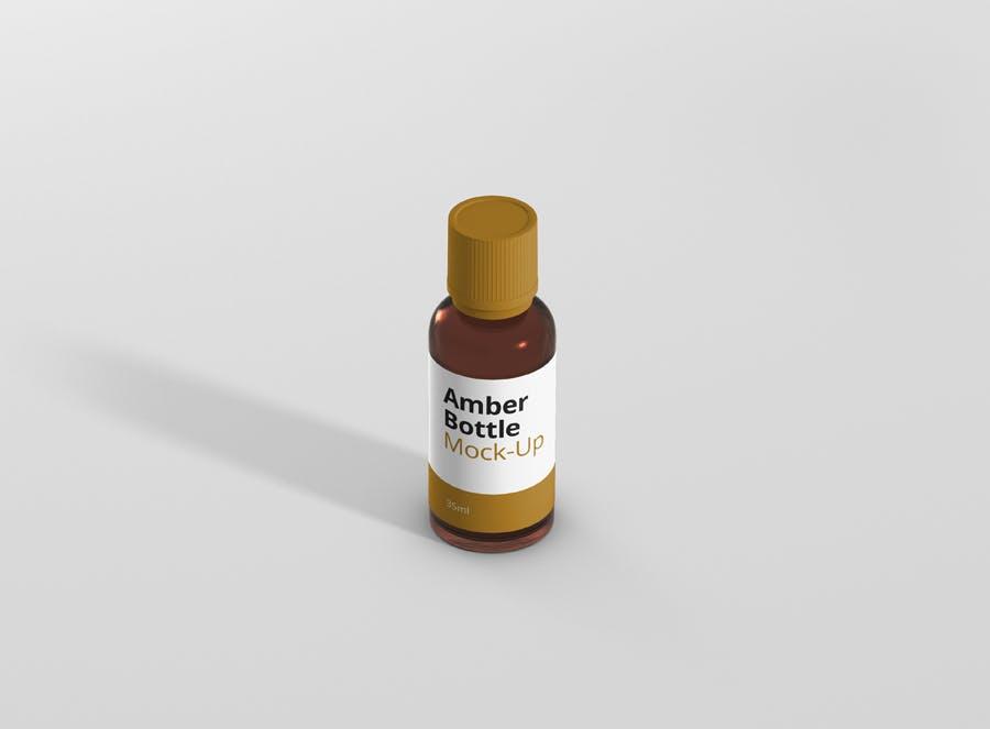 6个高品质琥珀药品瓶模型样机Amber Bottle Mockup插图(3)