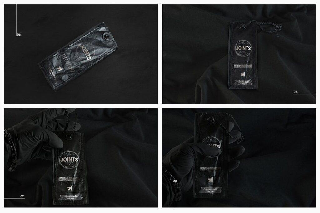 8个黑色高端优质标签模型样机Black Edition Tag Label Mockup插图(3)