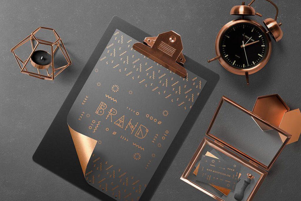 黑金配色品牌VI视觉识别系统模型样机效果图Branding Mockup Essentials Vol5插图(3)
