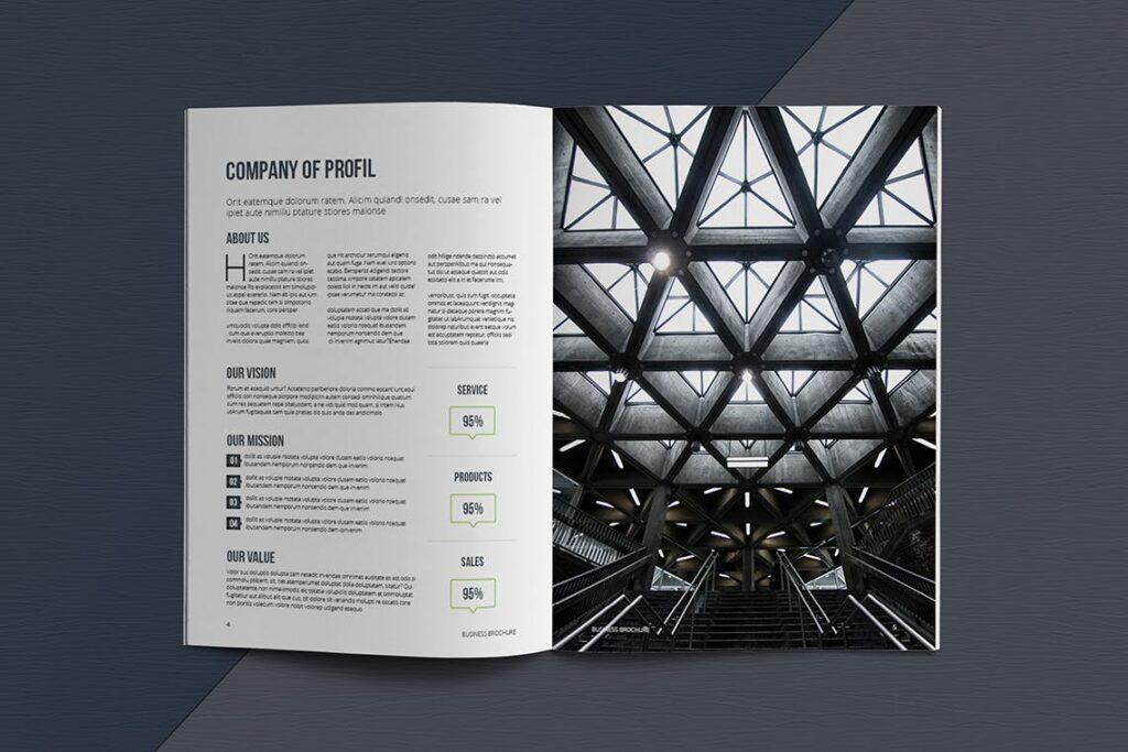 整洁典现代专业的企业商务手册模板Business Brochure Template DV95G插图(3)