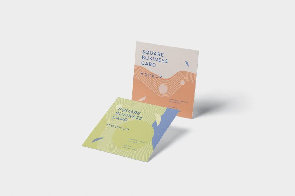方形商务名片模型样机效果图Business Card Mockup in Square Format插图(3)