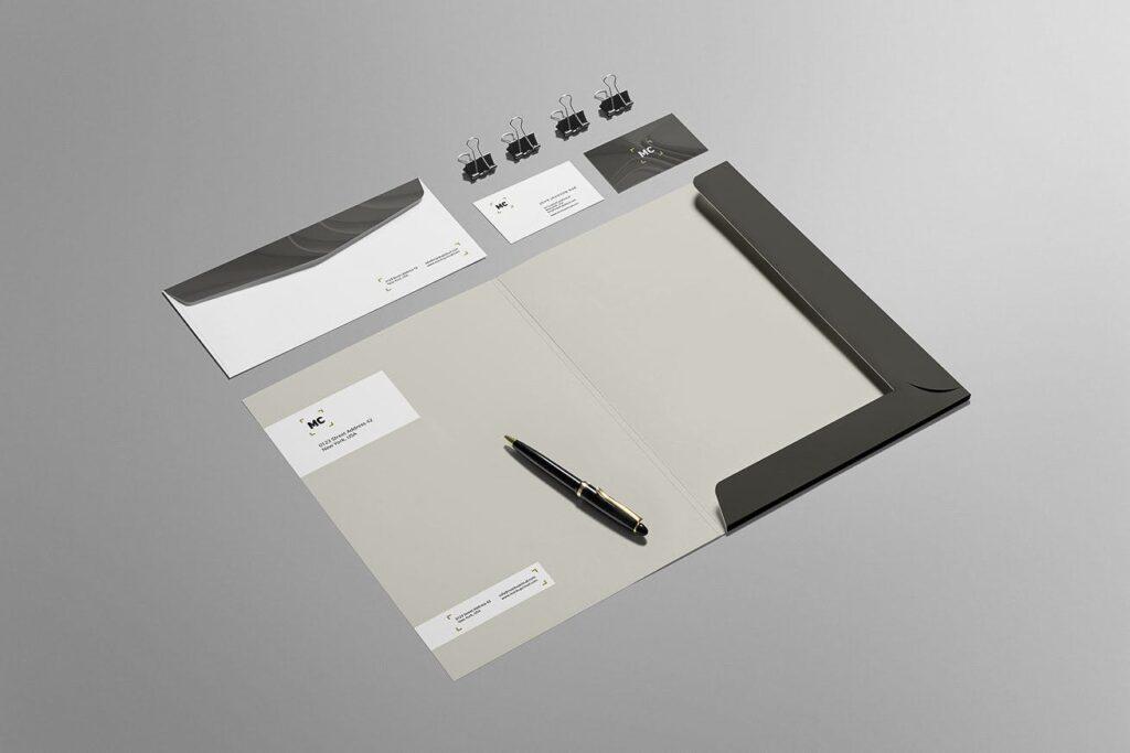 高端优质商务品牌办公文具VI模型样机素材下载Business Stationery Branding Mockup插图(3)