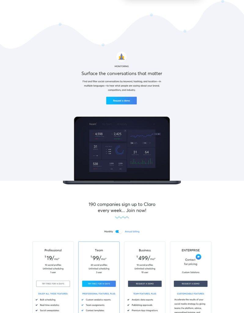 软件仪表盘APP登陆页面网站UI素材模板Claro Software Dashboard App Landing Page插图(3)