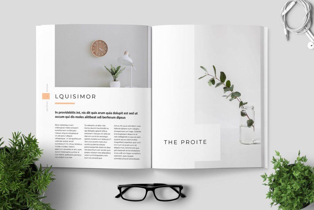 简洁优雅时生活方式或销售展示画册模板素材下载Clean Minimal Magazine Design插图(3)