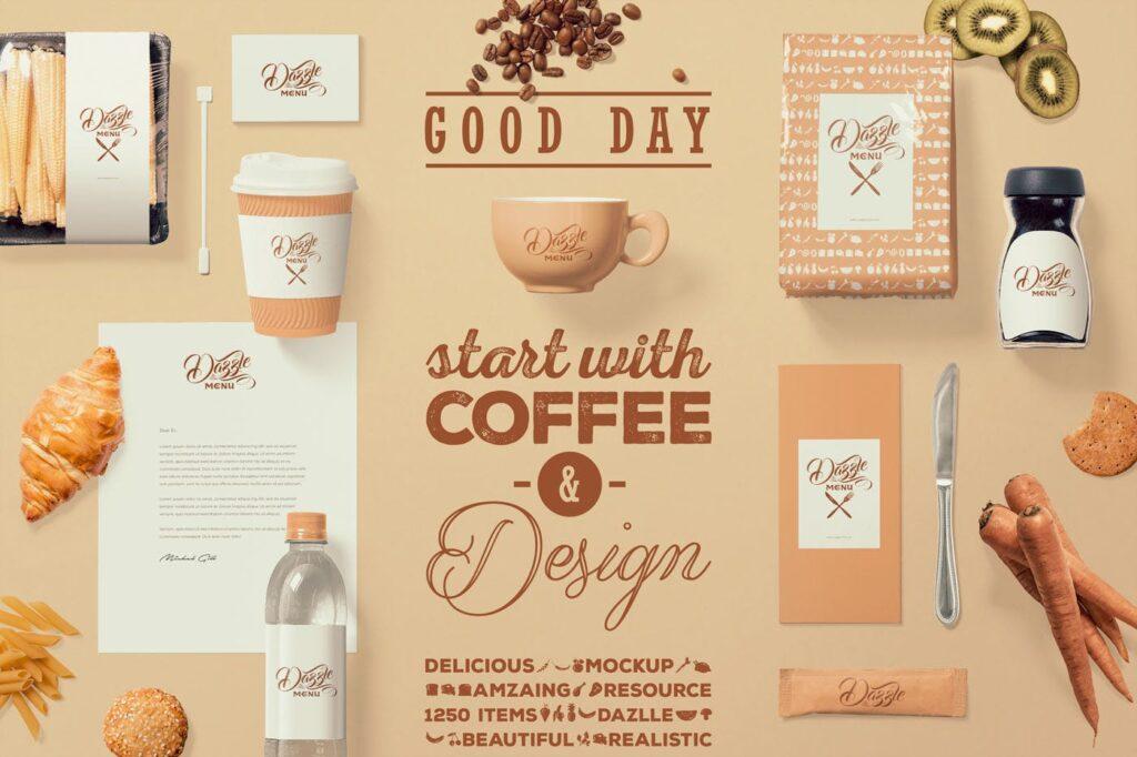 文艺咖啡店品牌VI设计样机素材下载Coffee Themed Brand Identity Mockup Scenes插图(3)
