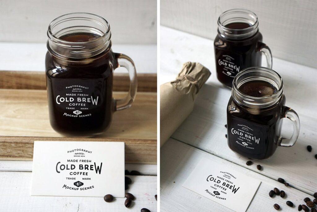 咖啡馆餐饮品牌样机/冷煮咖啡模型样机Cold Brew Coffee Mockup插图(3)