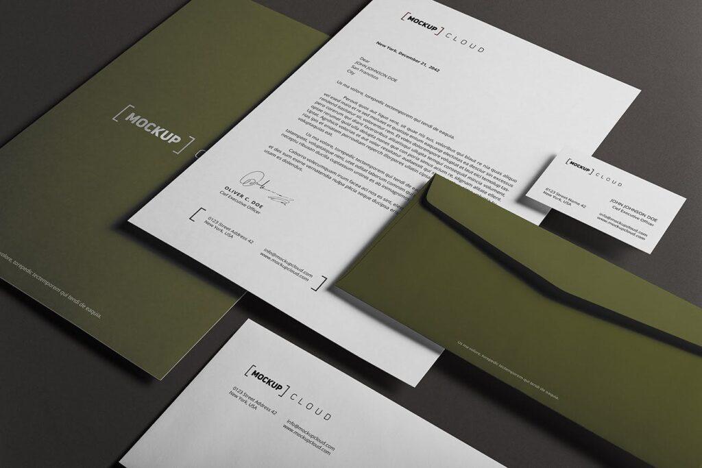 优质企业办公品牌文具样机模型下载Corporate Stationery Branding Mockup插图(3)