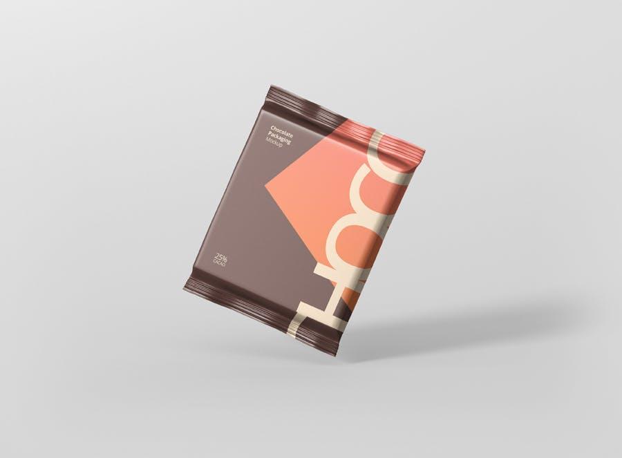 真空巧克力包装模型样机素材下载Foil Chocolate Packaging Mockup Square Size插图(3)