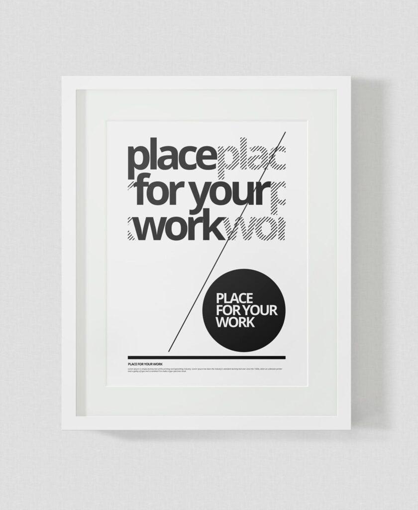 黑白艺术相框模型样机素材下载Frame For Your Work Pd73r4插图(3)