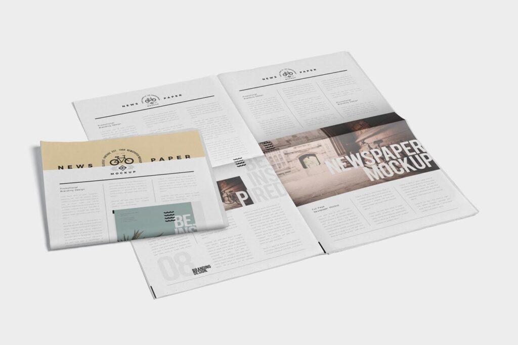 透视角度报纸期刊模型样机效果图Full Page Newspaper Mockups插图(3)
