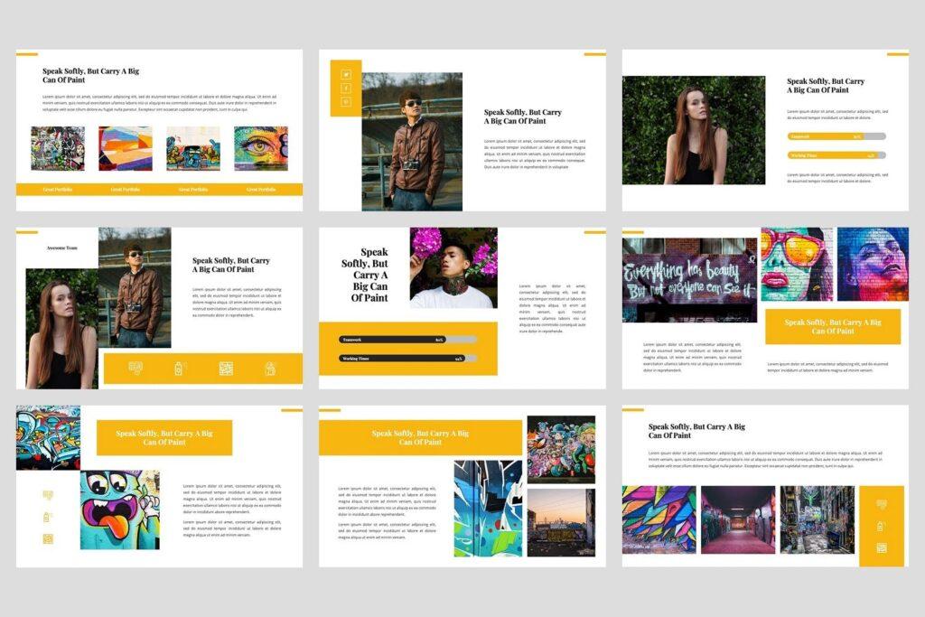 艺术绘画涂鸦主题演示PPT幻灯片模板Ganes Graffiti PowerPoint Template插图(3)