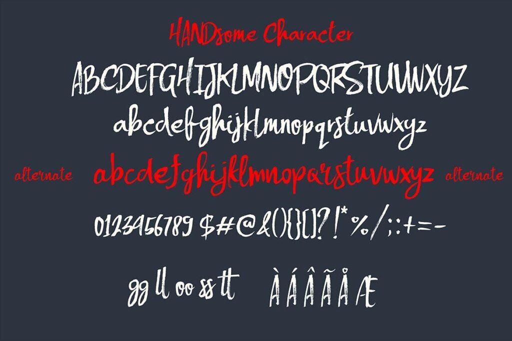 文艺毛笔干画笔英文字体下载Handsome Brush Font插图(3)