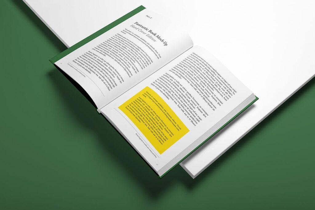 精装书硬卡纸封面PSD模型模板样机效果图Hardcover Book Mockup Vol 1插图(3)