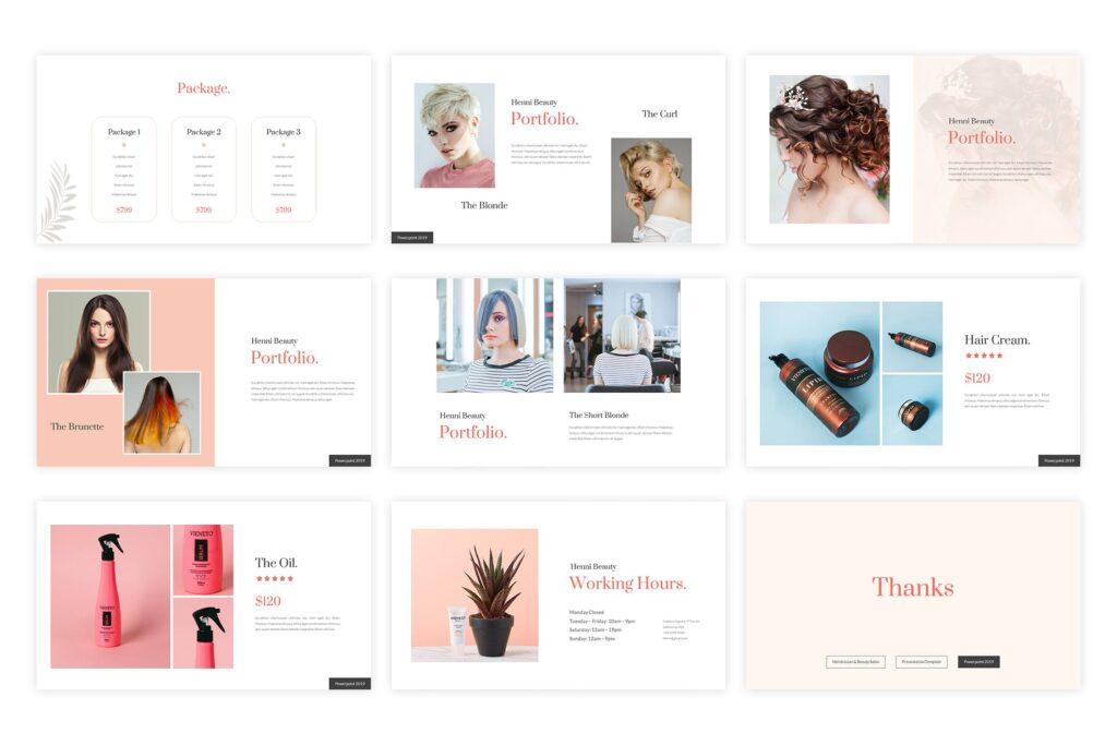 女性美容美发行业调研数据汇报宣讲PPT幻灯片模板Henni Beauty Salon Powerpoint Template插图(3)